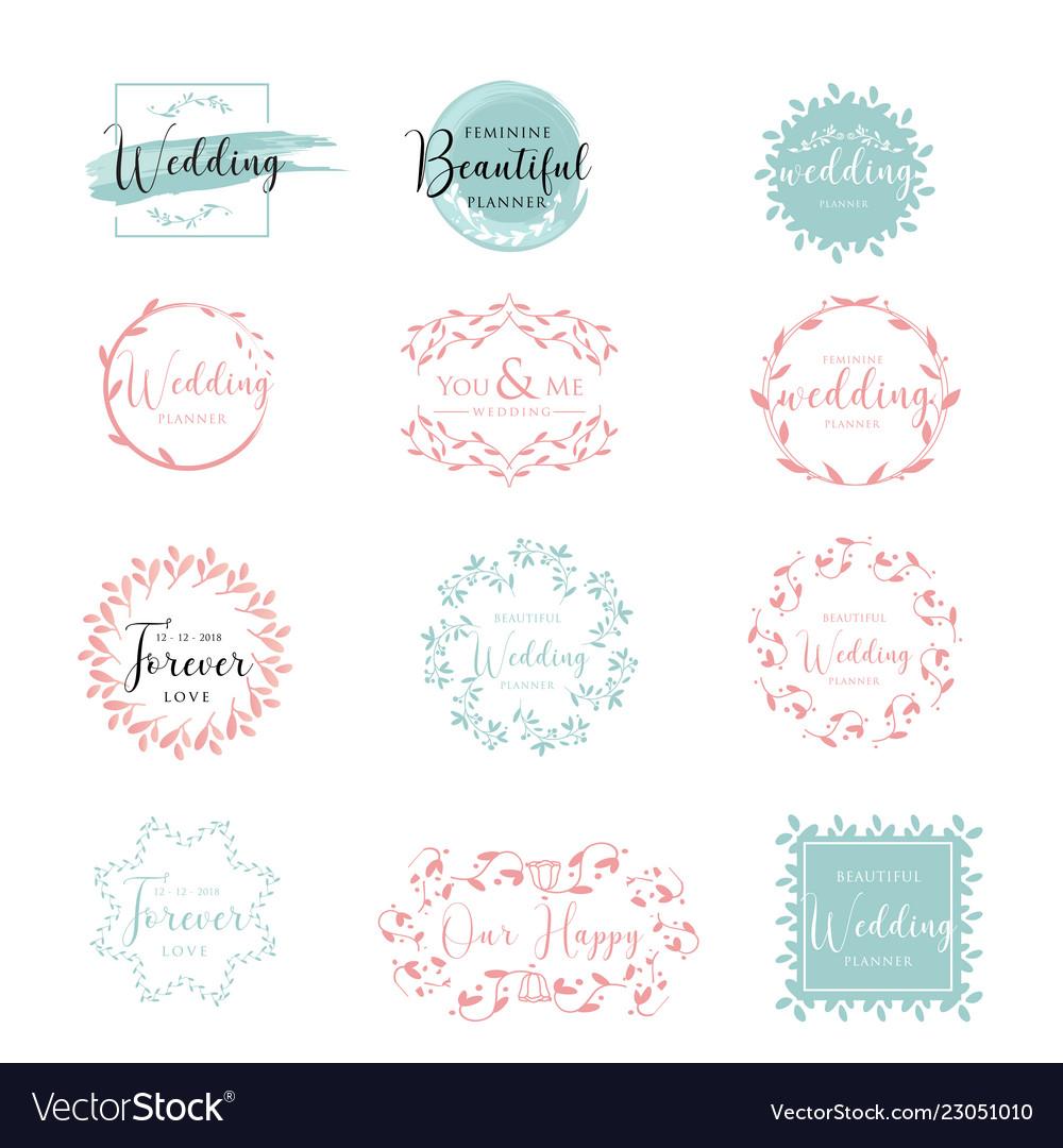 Elegant and feminine floral wedding logo