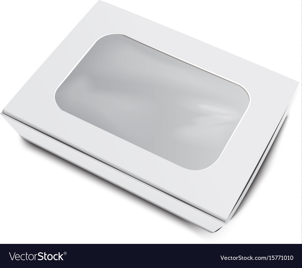 Empty white paper food container with label