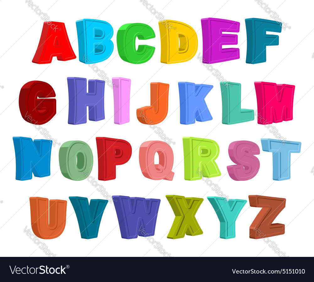 Font children Colorful alphabet Letters in child