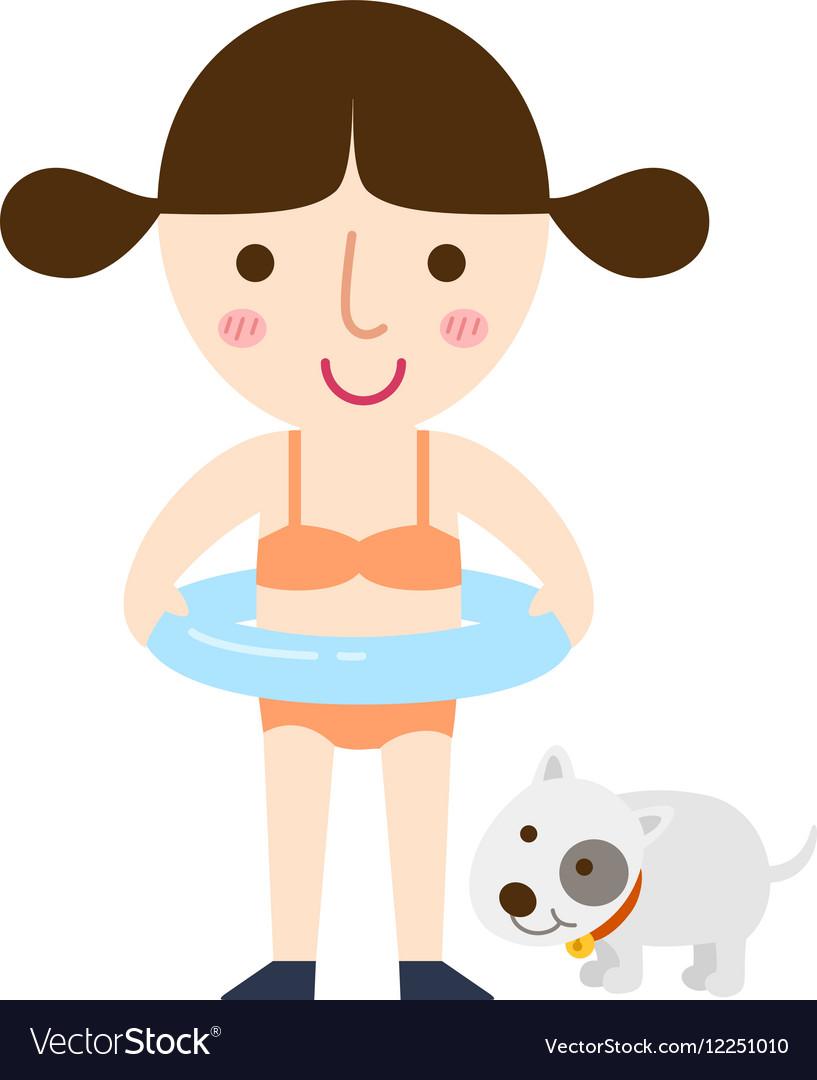 Girl swimming vector image