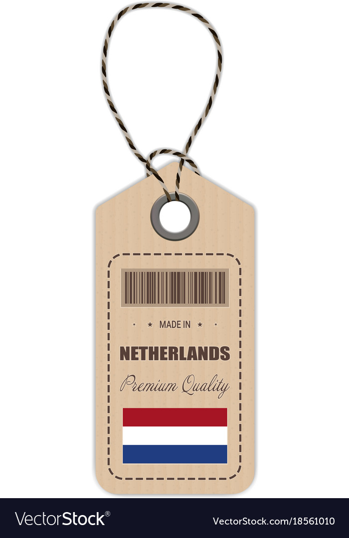 Hang tag made in netherlands with flag icon