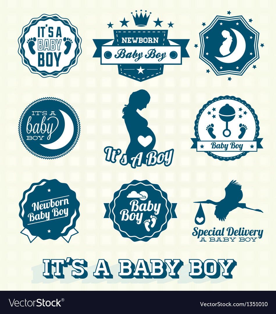its a baby boy retro labels collection royalty free vector