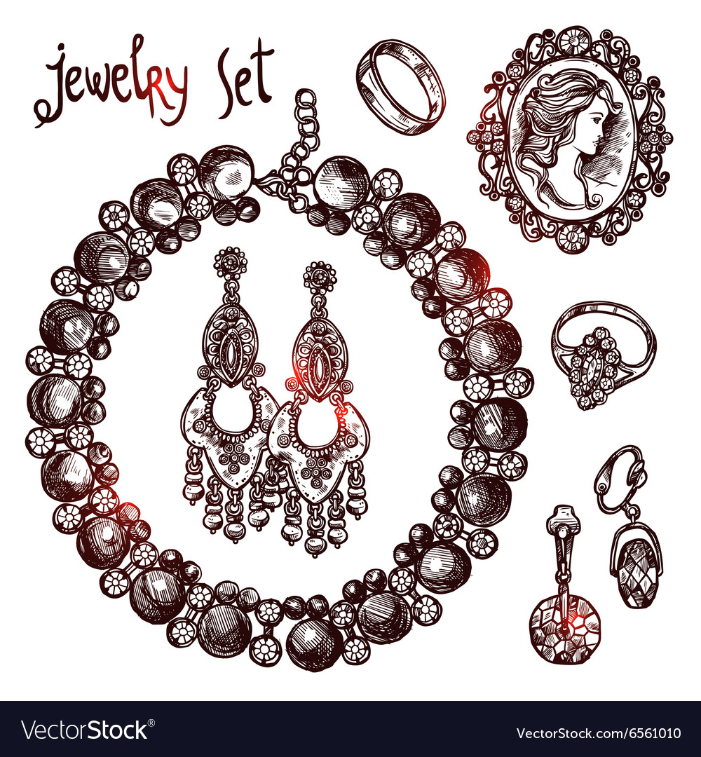Jewelry Sketch Set vector image