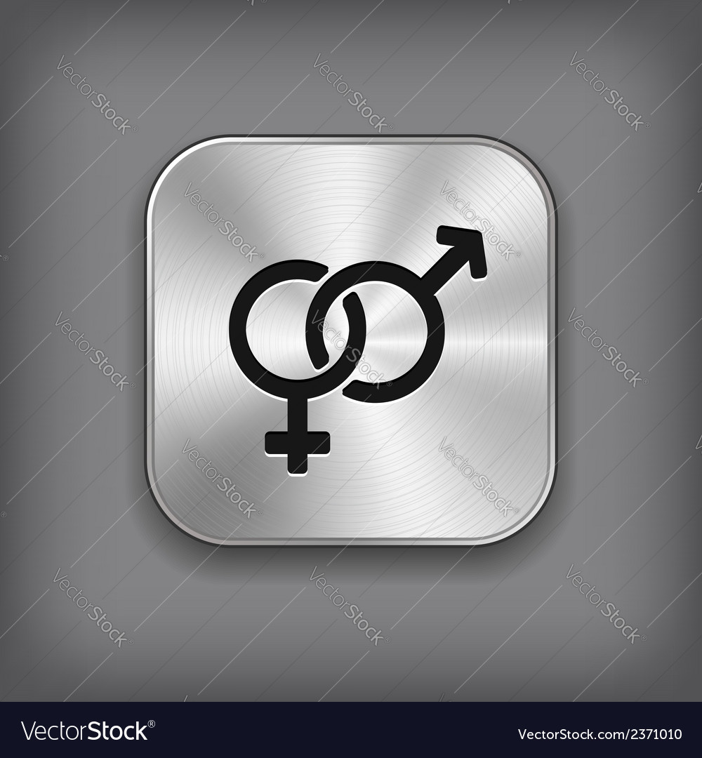 Male and female icon - metal app button