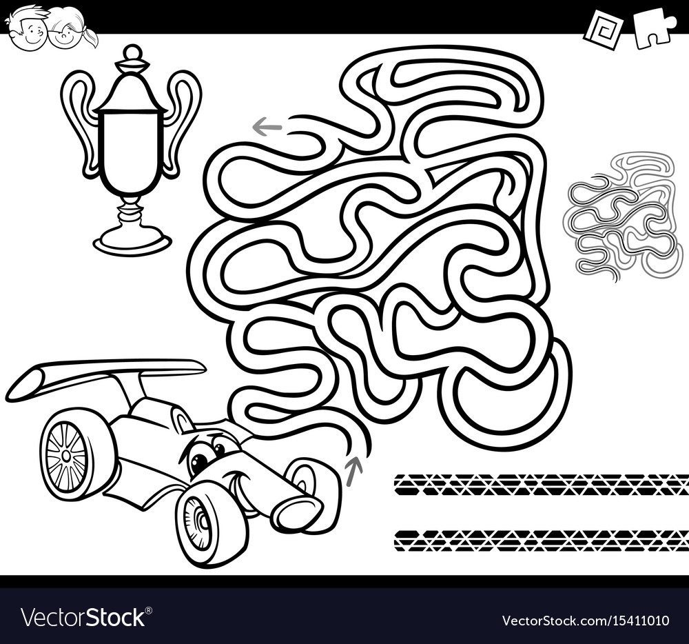Maze with race car coloring page Royalty Free Vector Image