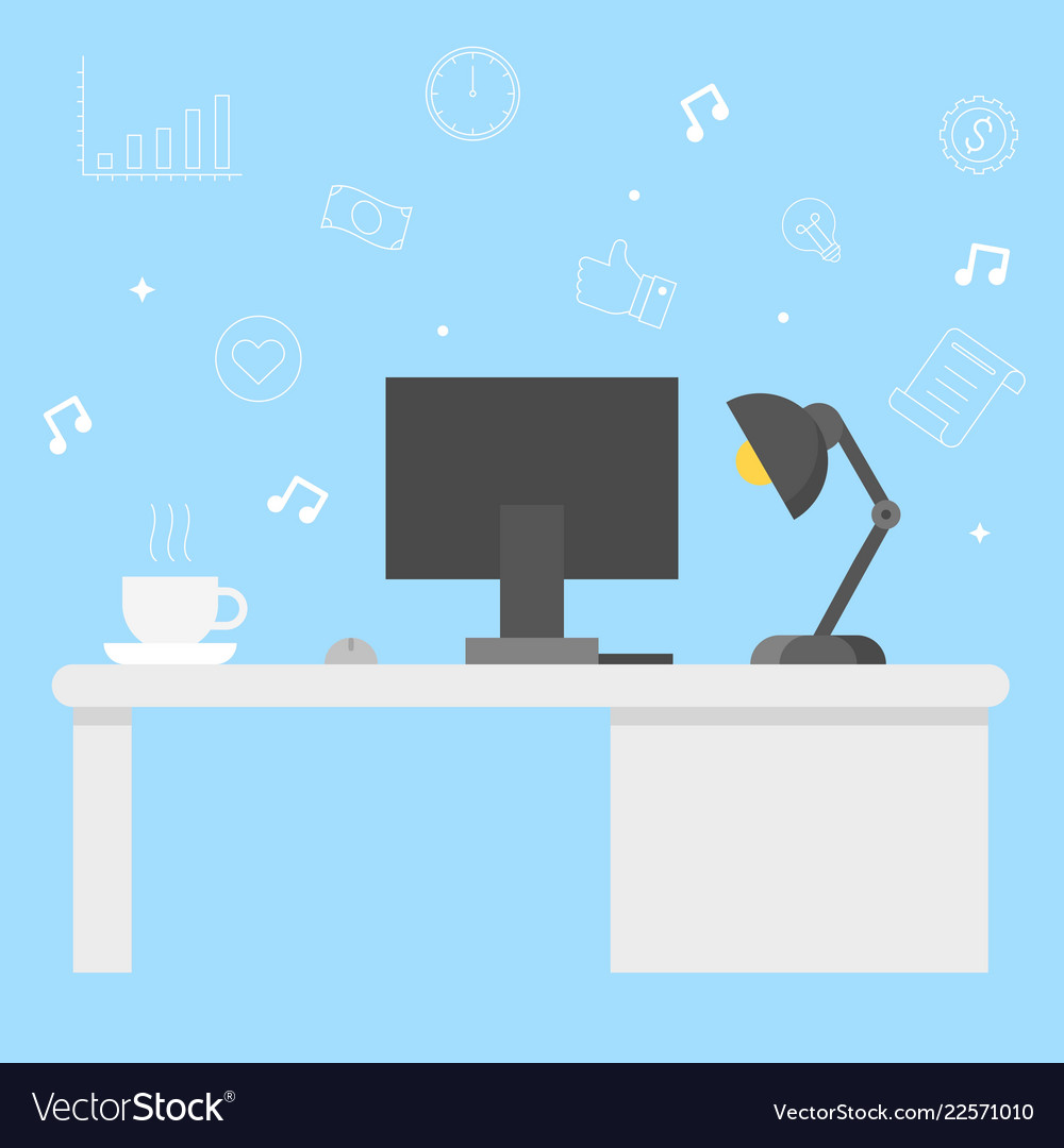 Modern office desk with computer coffee and lamp