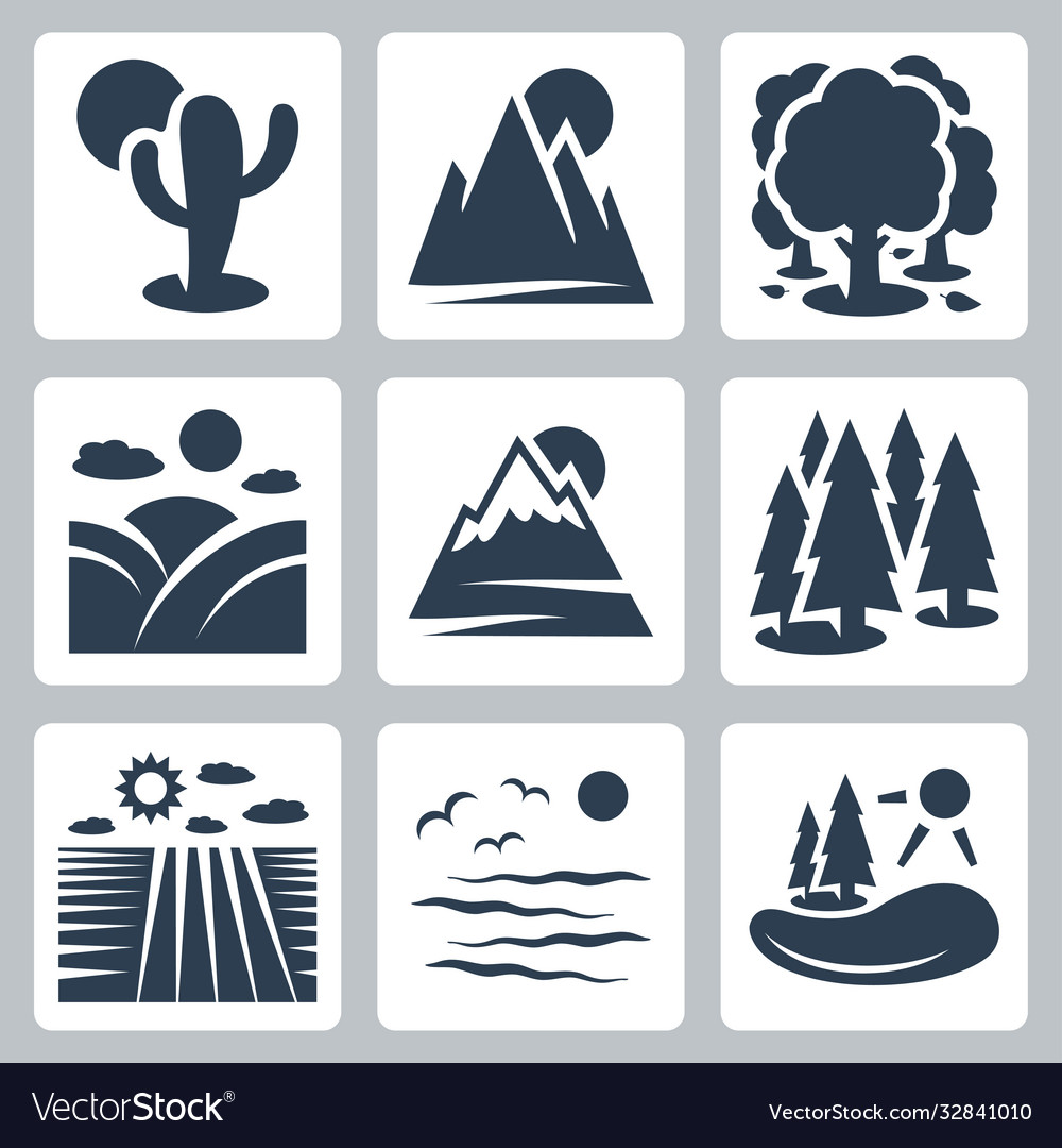 Nature icons set desert mountains forest meadow