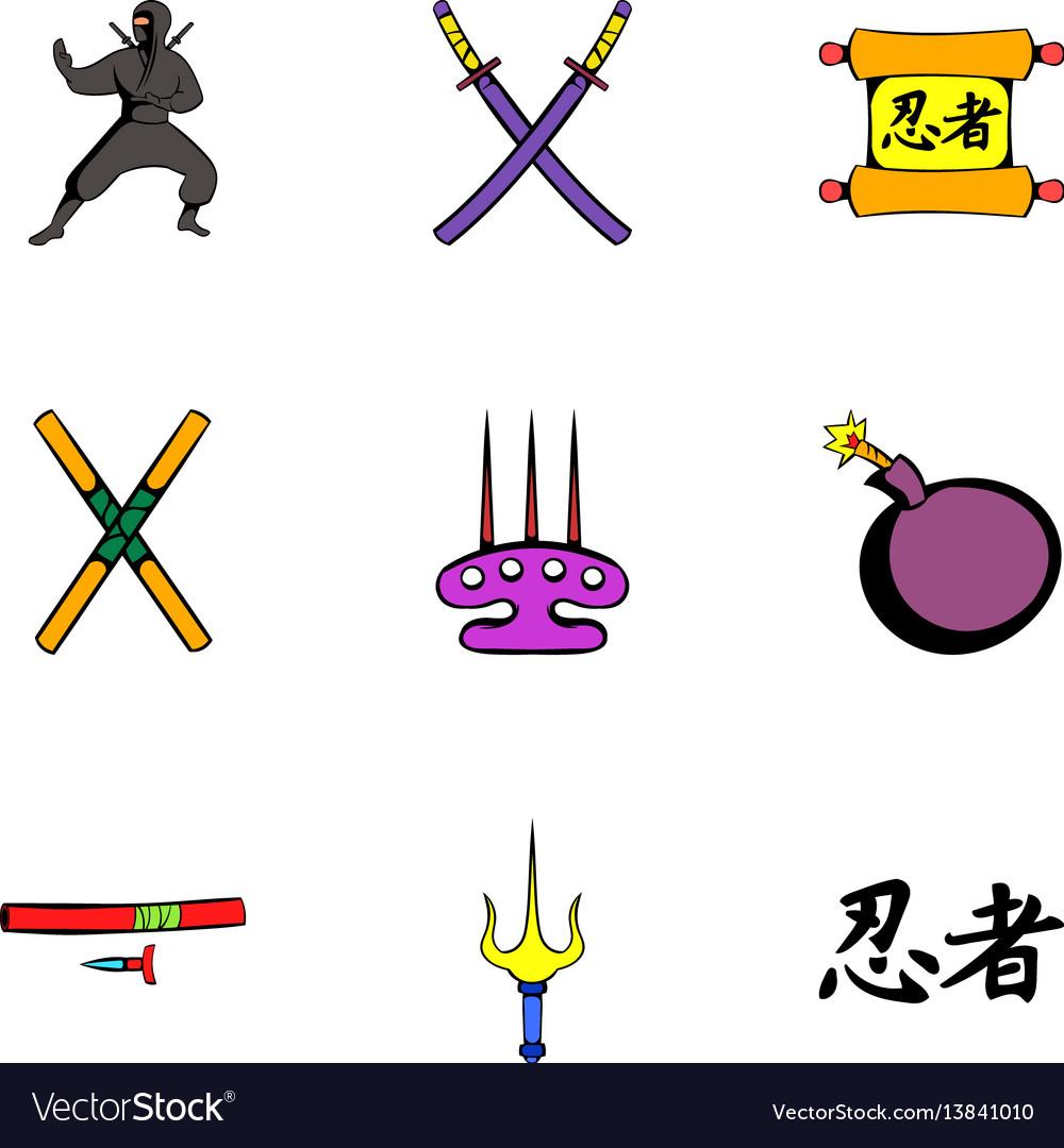 Ninja icons set cartoon style