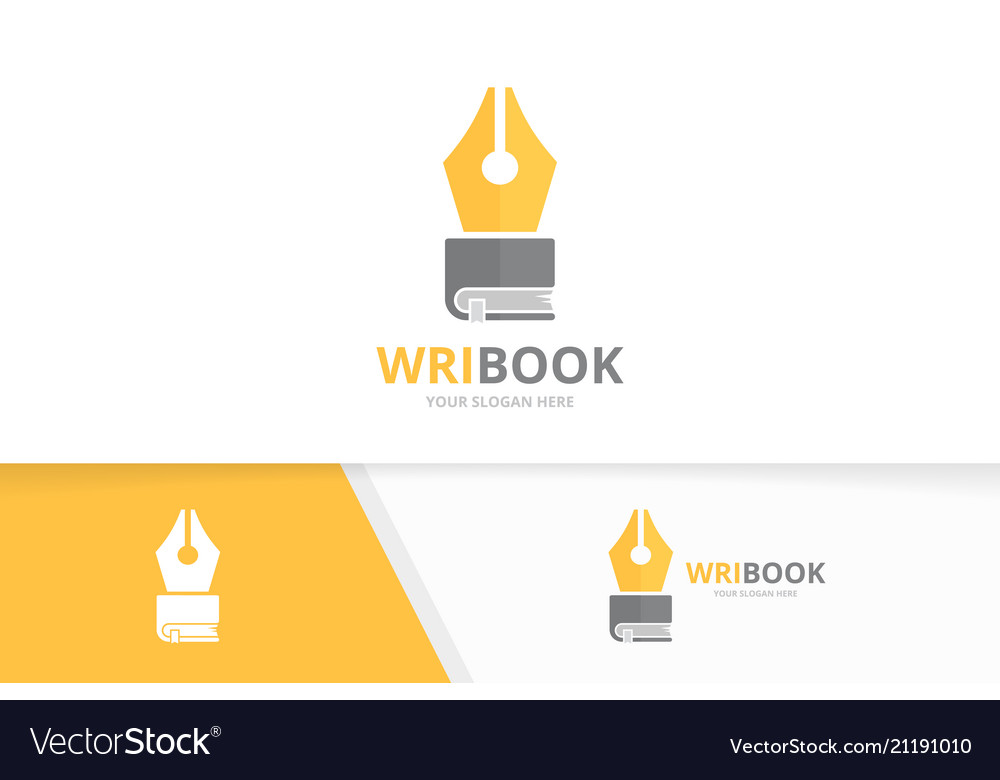 Pen and book logo combination write and