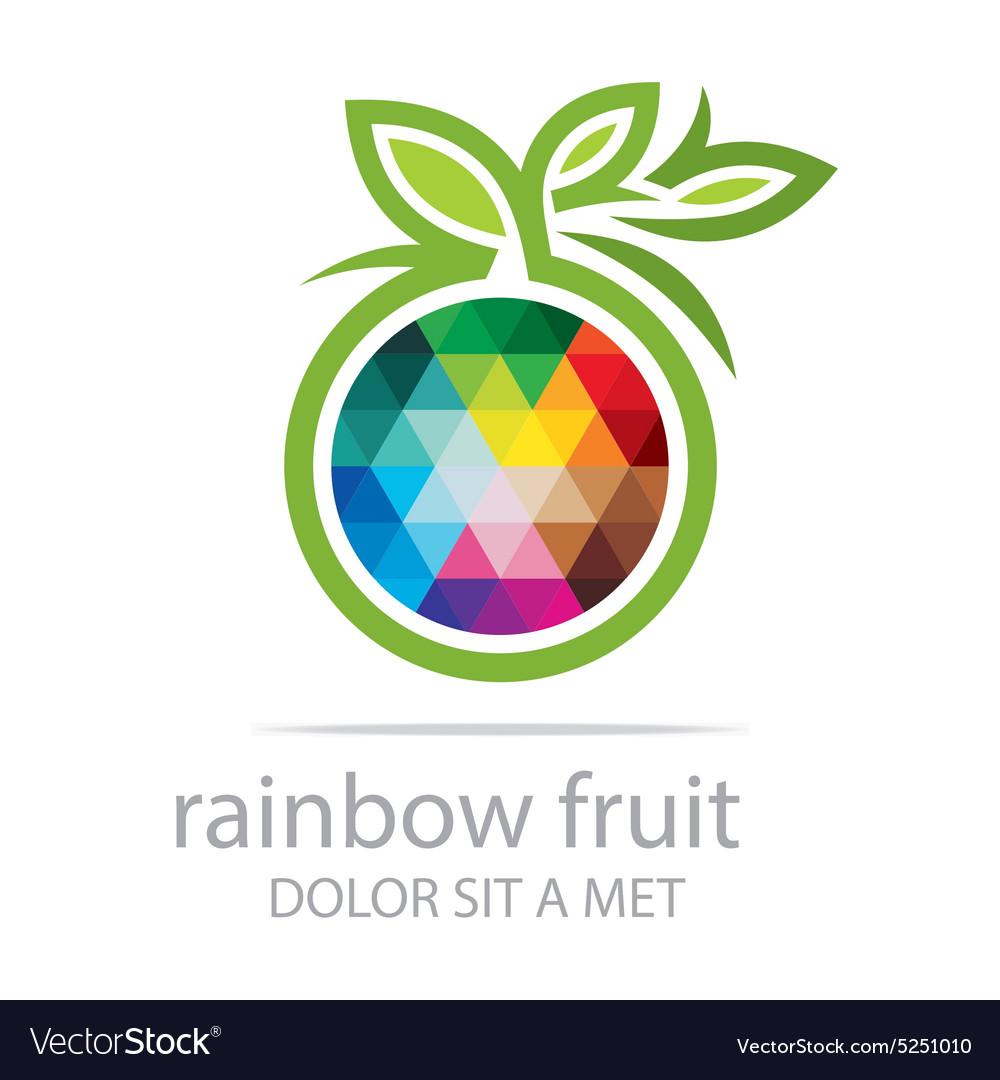 Rainbow Fruit Logo Food Nutrition Symbol Vector Image
