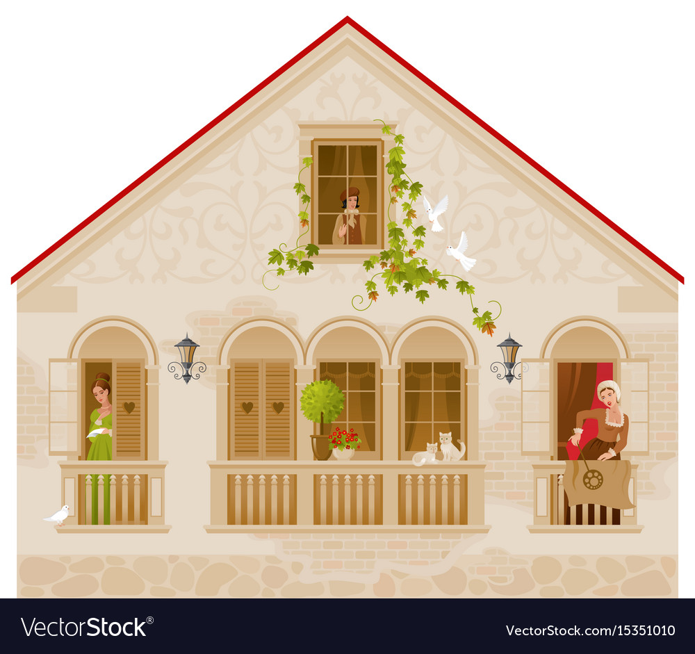 Retro stone house with people in windows