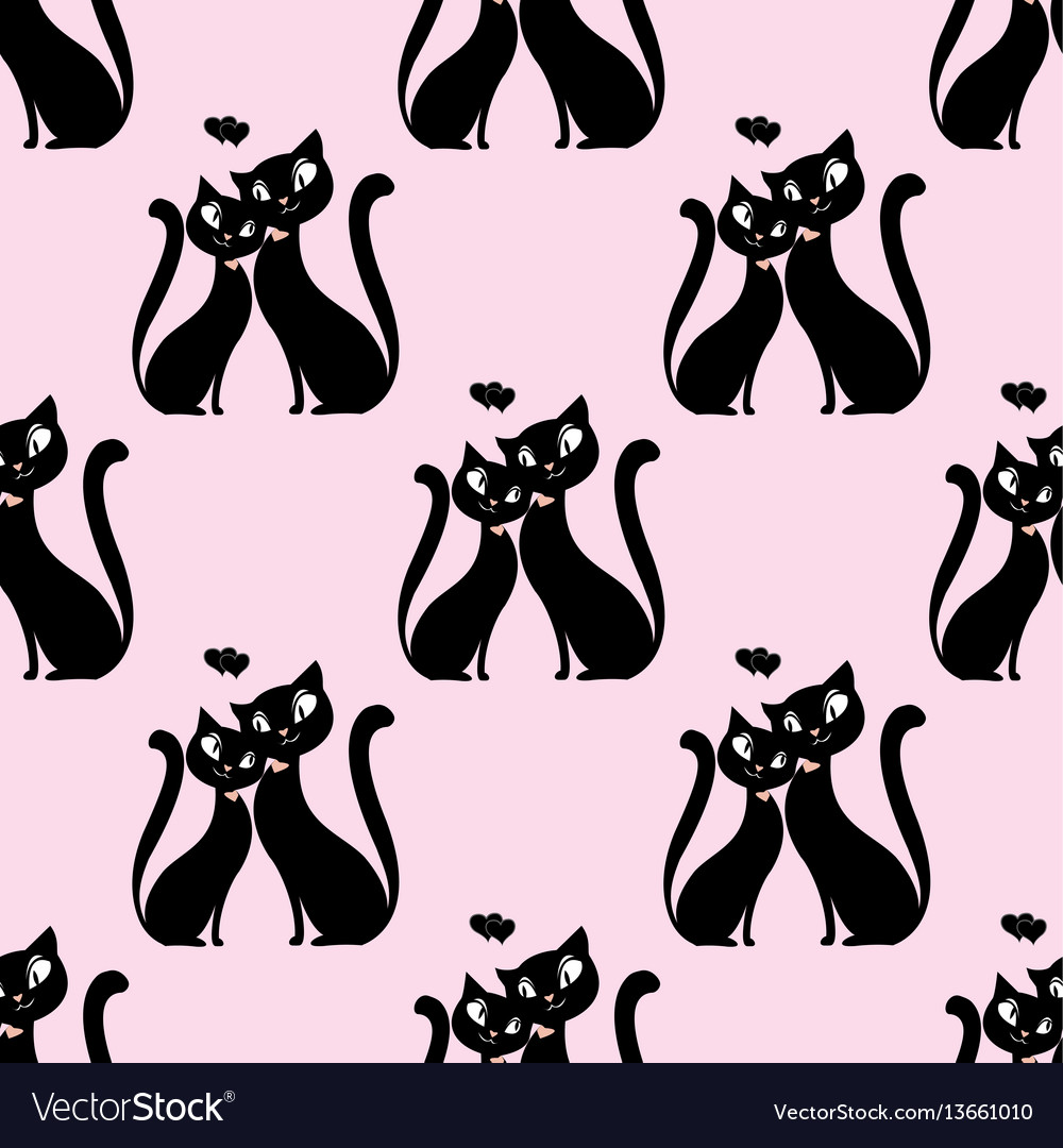 Seamless pattern couple of lovers of cats