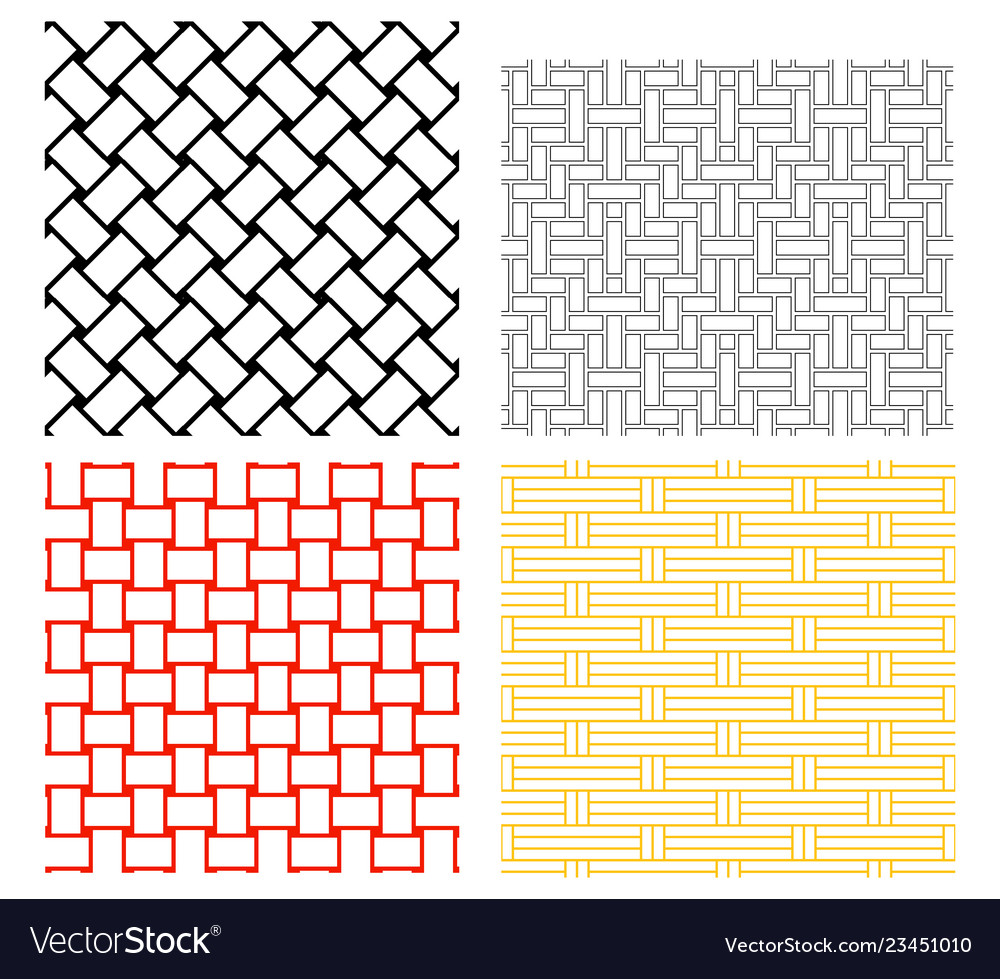 Seamless weave rattan pattern in silhouette