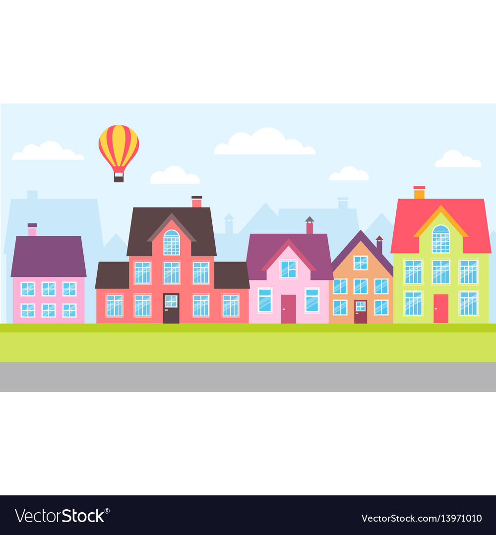 Set of colorful houses in a town