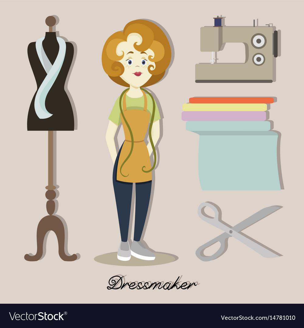 Tailor or dressmaker vector image