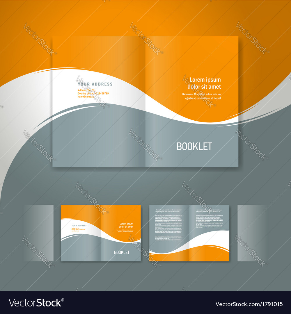 Booklet design template white curve line orange vector image