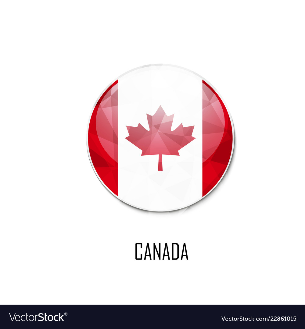 Canadian flag in a circle on white background