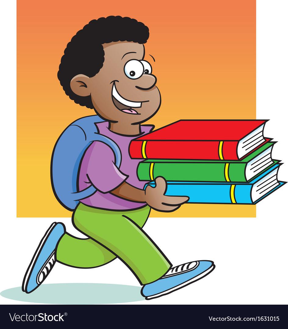 Cartoon Boy Carrying Books