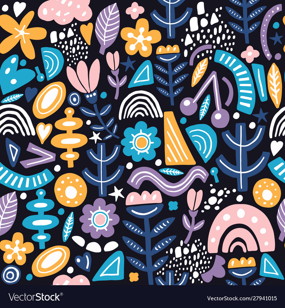 Collage style seamless pattern with abstract and