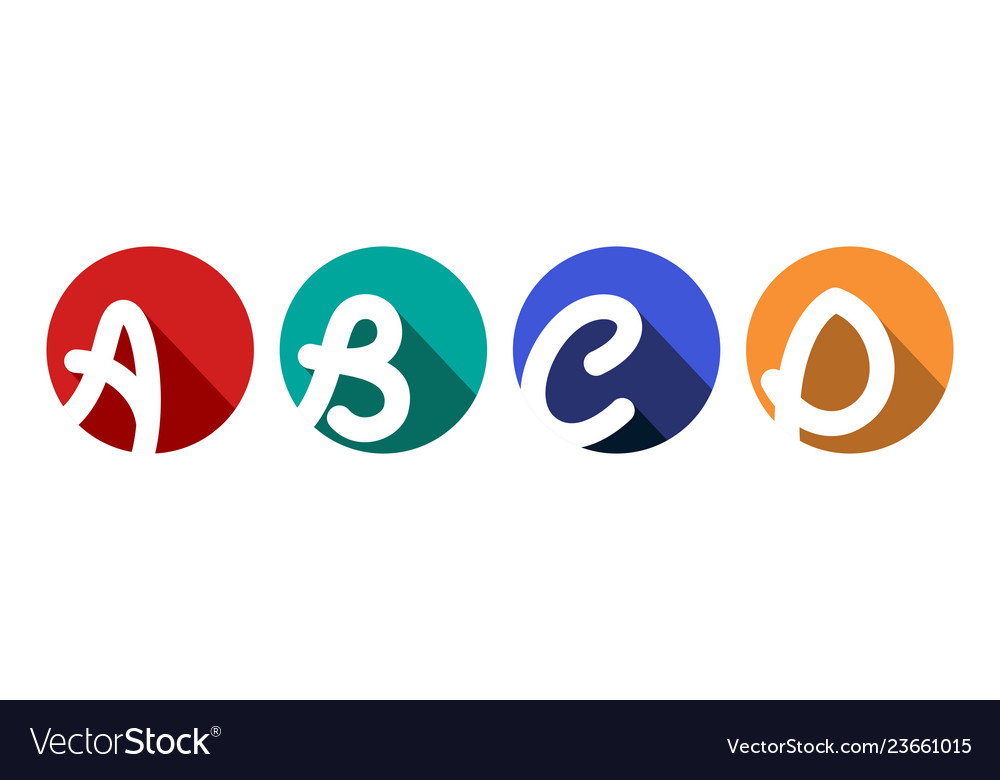 Creative capital letters a b c d inscribed in a