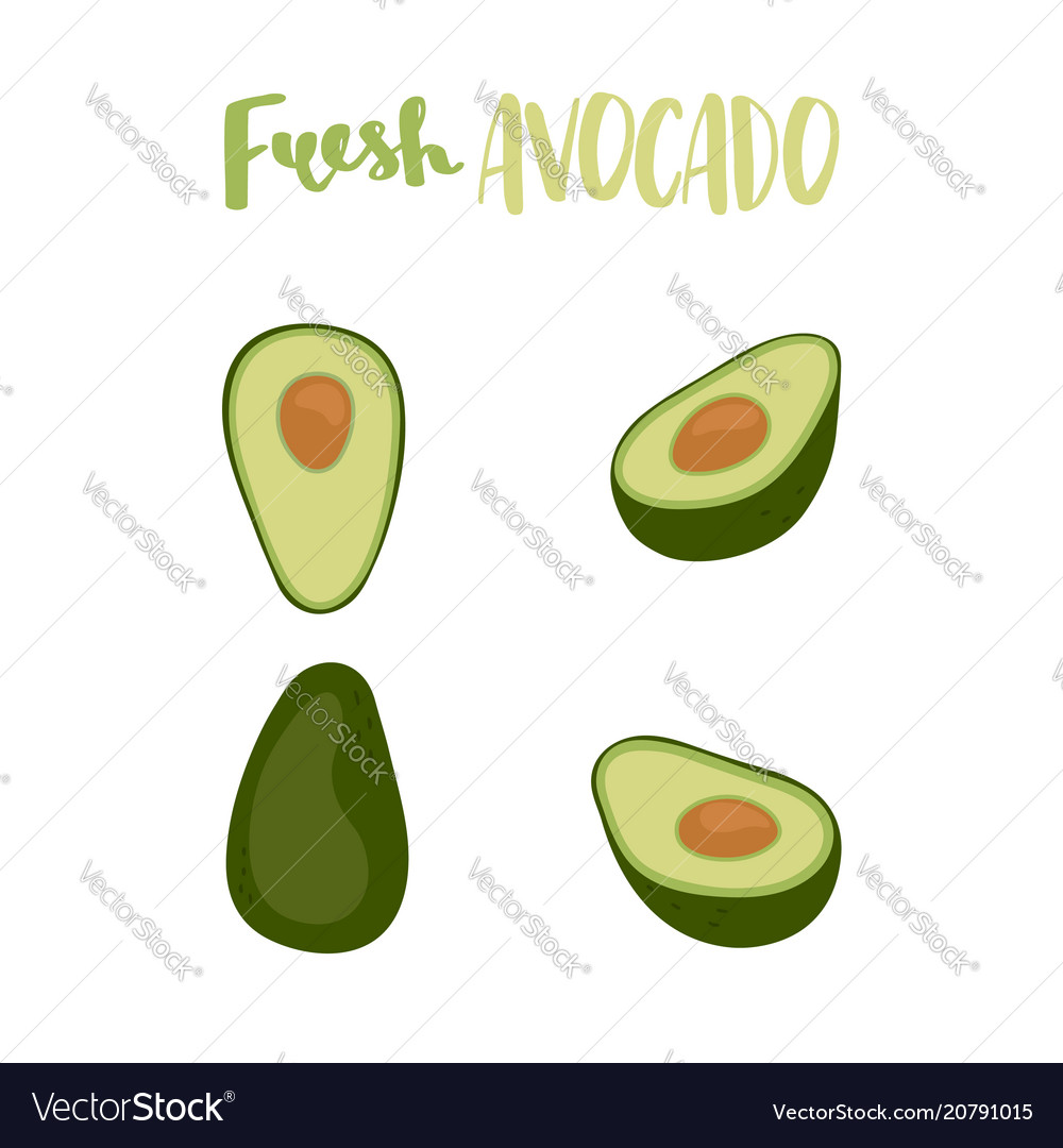 Cute set with cartoon half avocado and whole