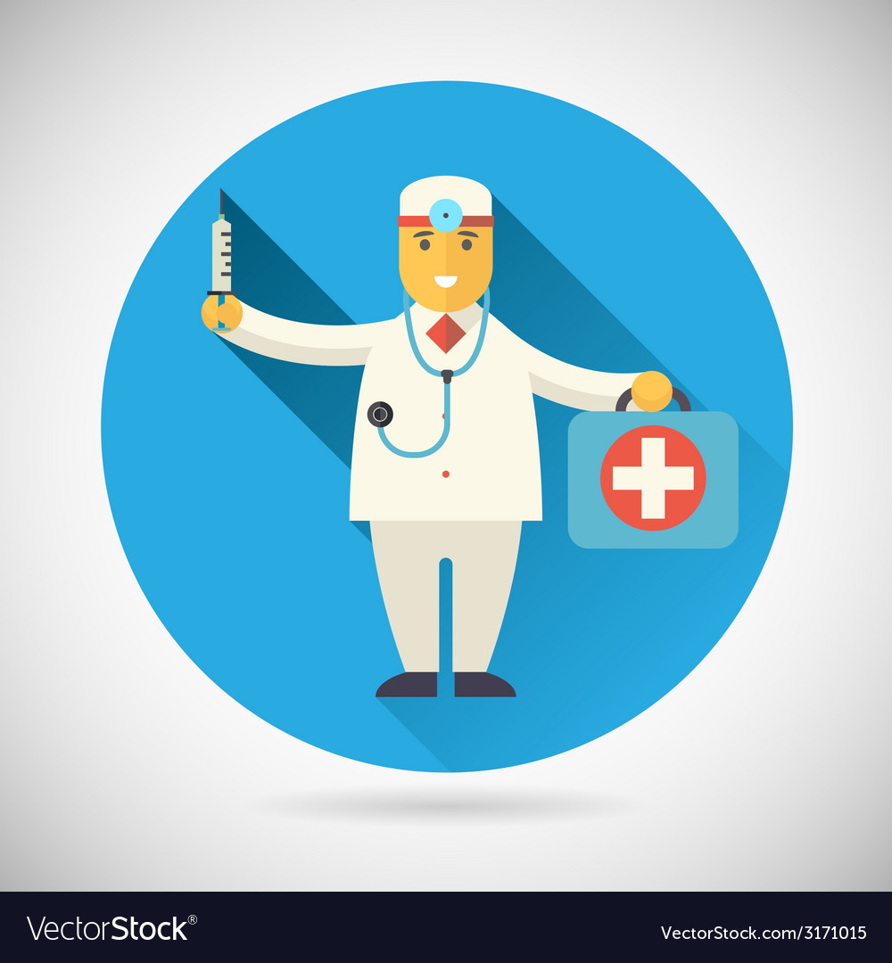 Doctor character with suitcase syringe stethoscope