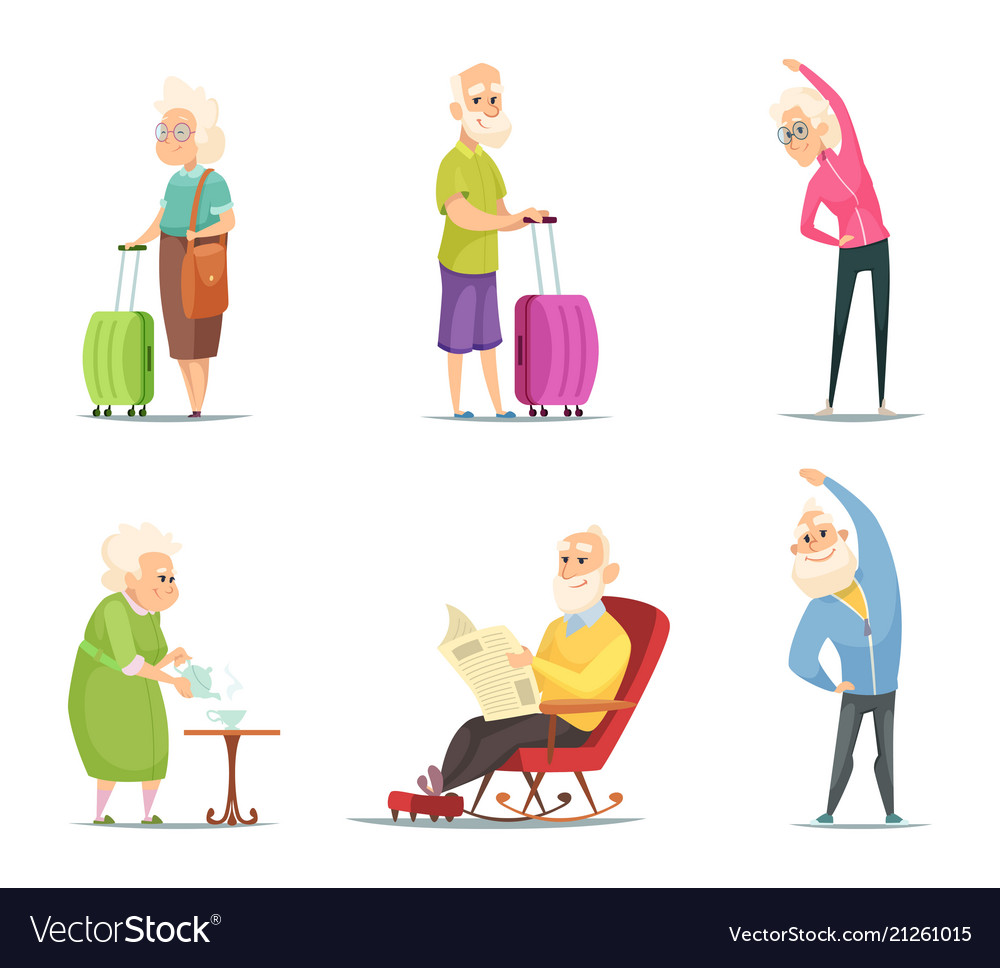 Elderly couples in various action poses