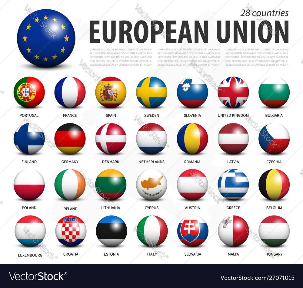 European union eu 3d circle balls line up and