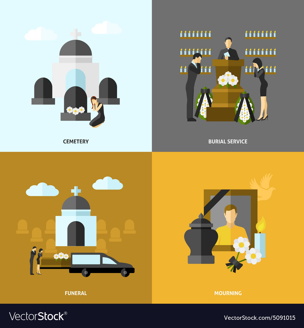 Funeral Flat Set vector image