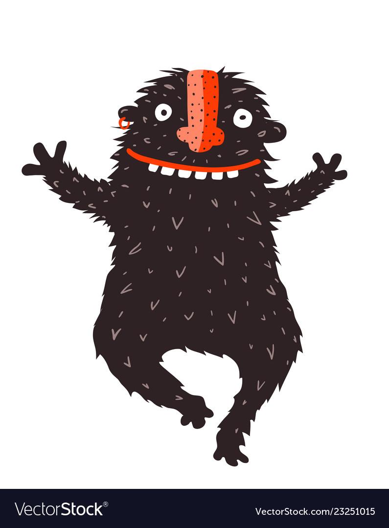 Funny Black Monster Run Hugging Vector Image