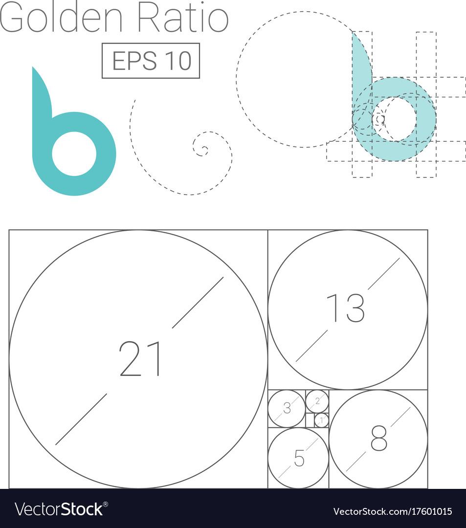 golden ratio template logo fibonacci royalty free vector