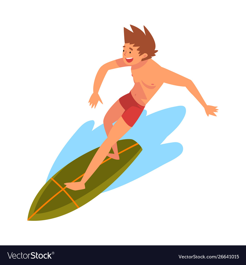 Guy riding on ocean wave male surfer character in
