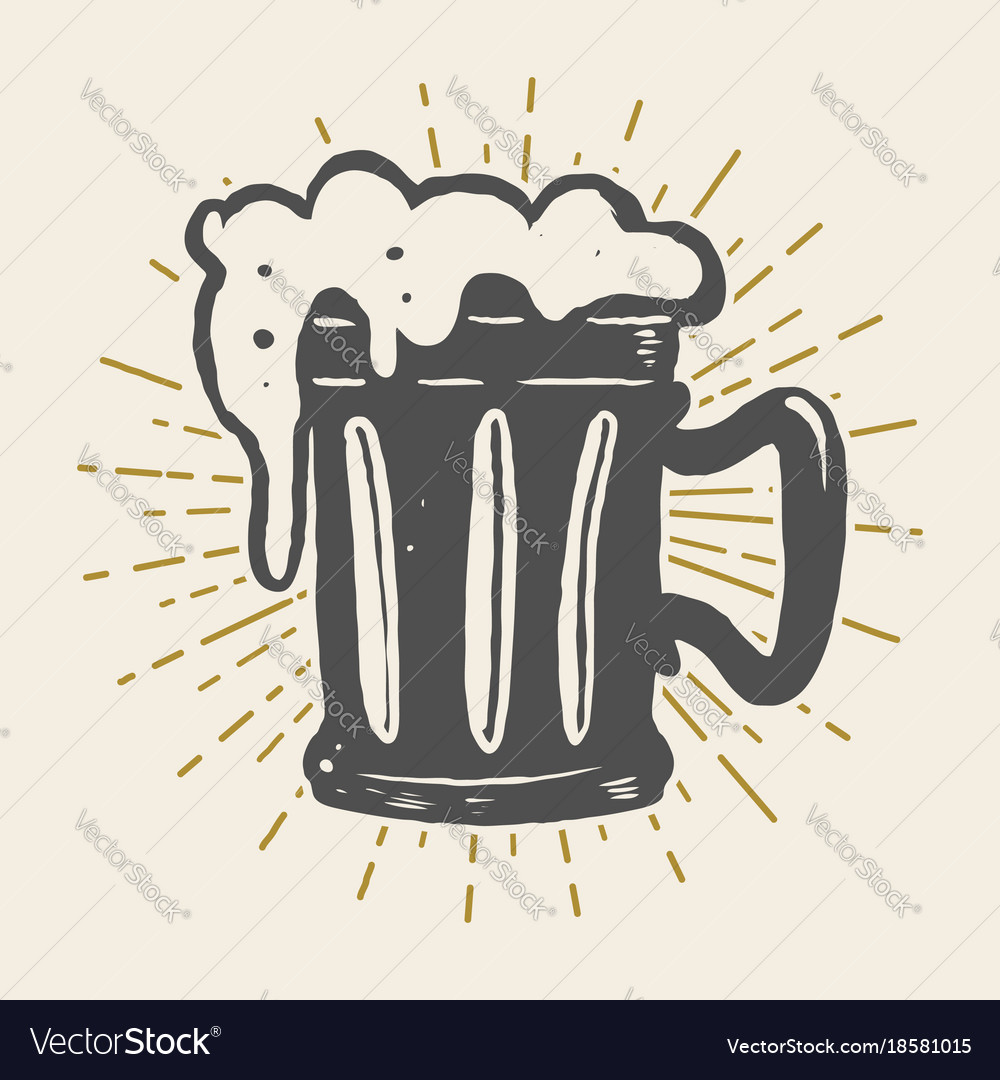 Hand drawn vintage beer mug on white background vector image