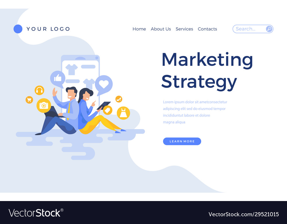 Landing page template marketing strategy concept