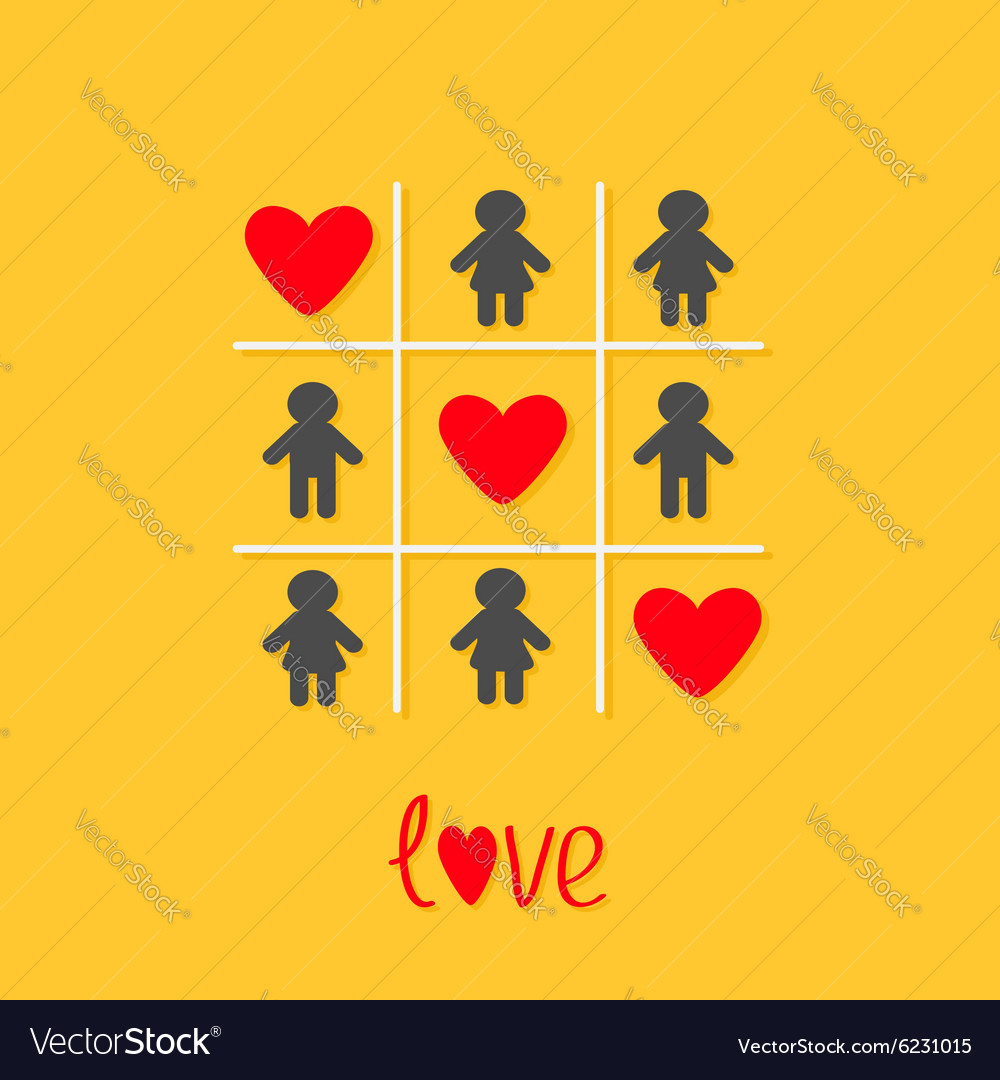 Man Woman icon Tic tac toe game Three red heart