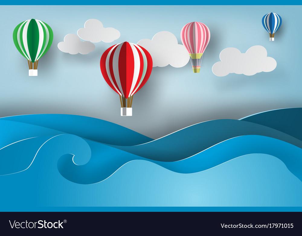 Paper art of ballon on sea viewsummer