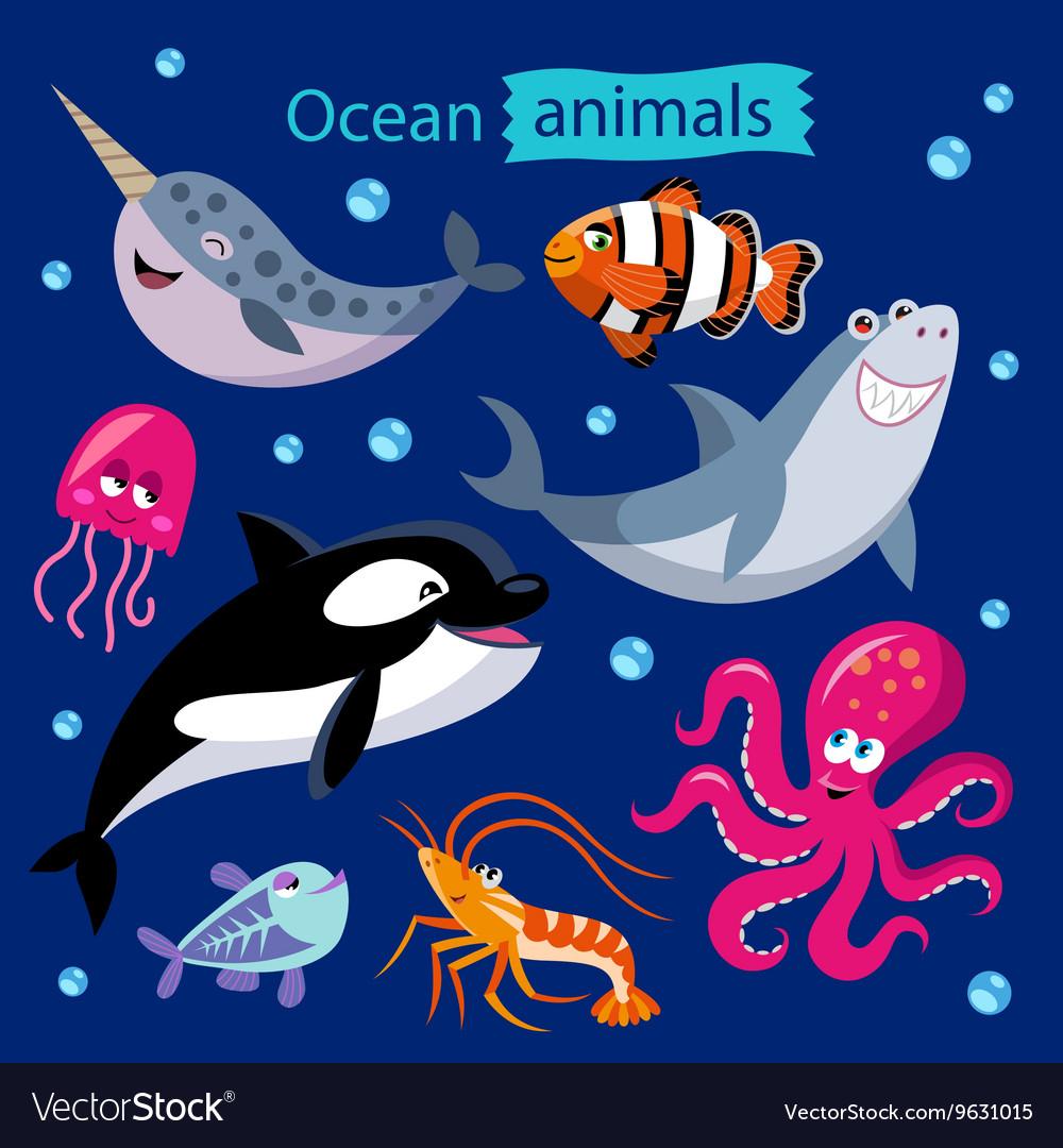 Set of cartoon ocean animals vector image