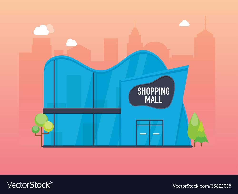 Shopping mall building exterior flat design style