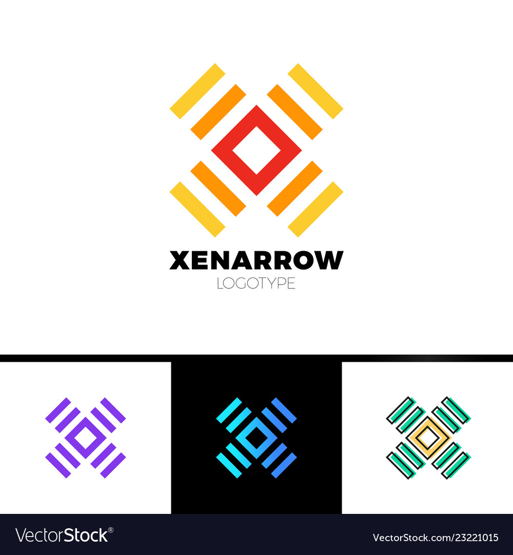 Simple letter x logo square and line logotype