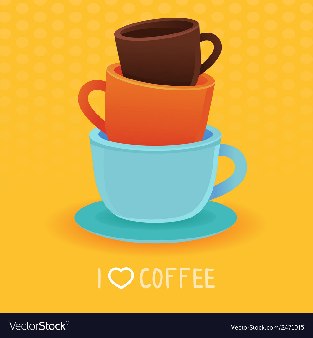 Stack Of Coffee Mugs And Cups Vector Image