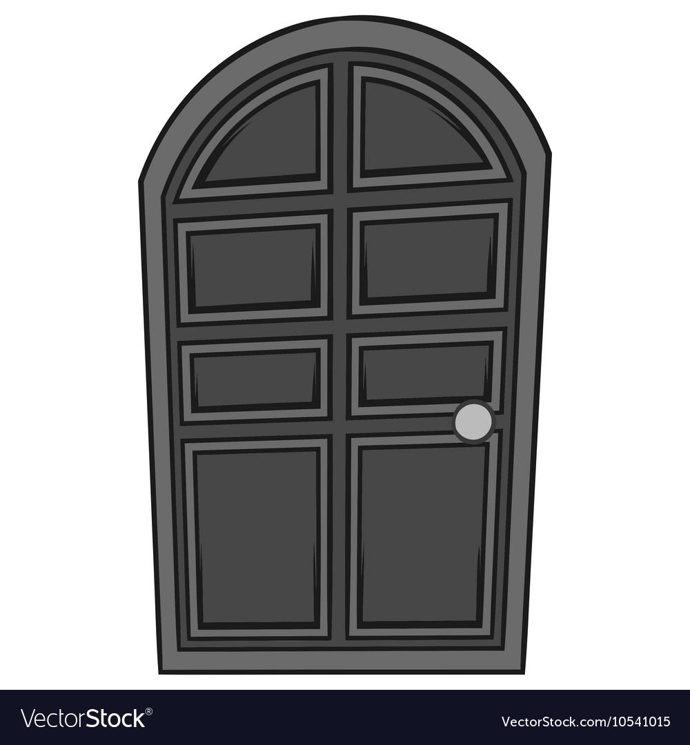 Wooden door icon black monochrome style
