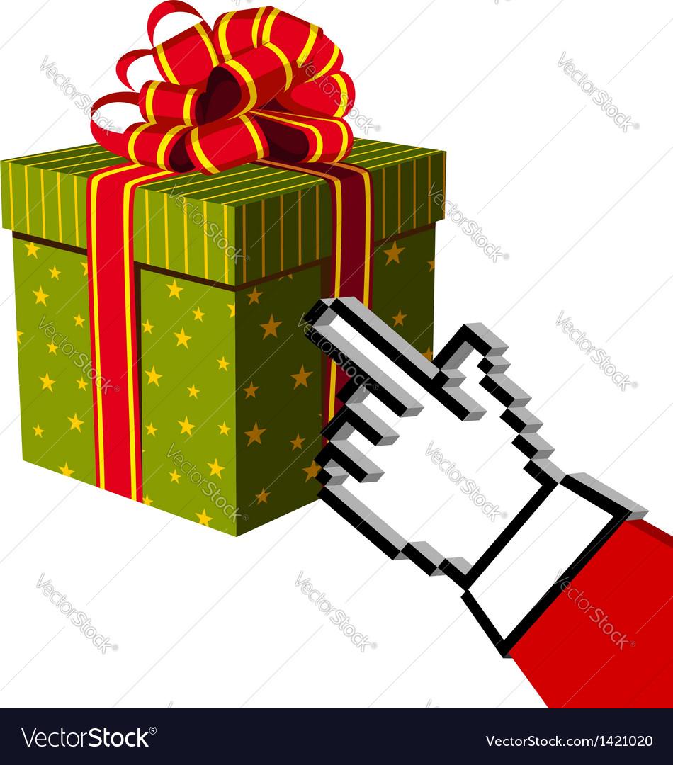 Christmas gift and Santa buying online Royalty Free Vector