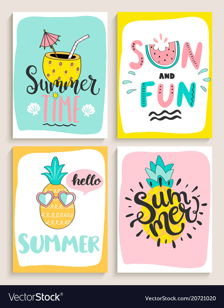 Cute set of 4 bright summer cards