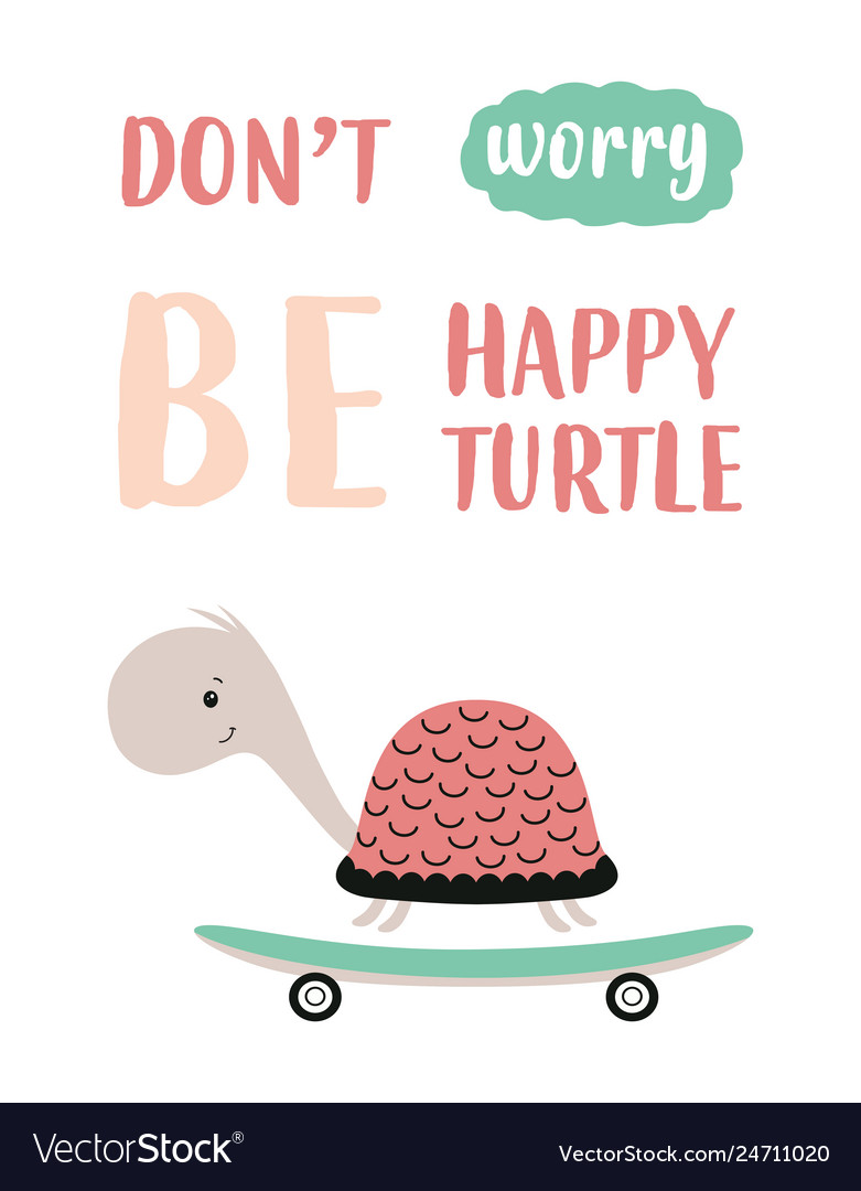 Cute turtle on skateboard