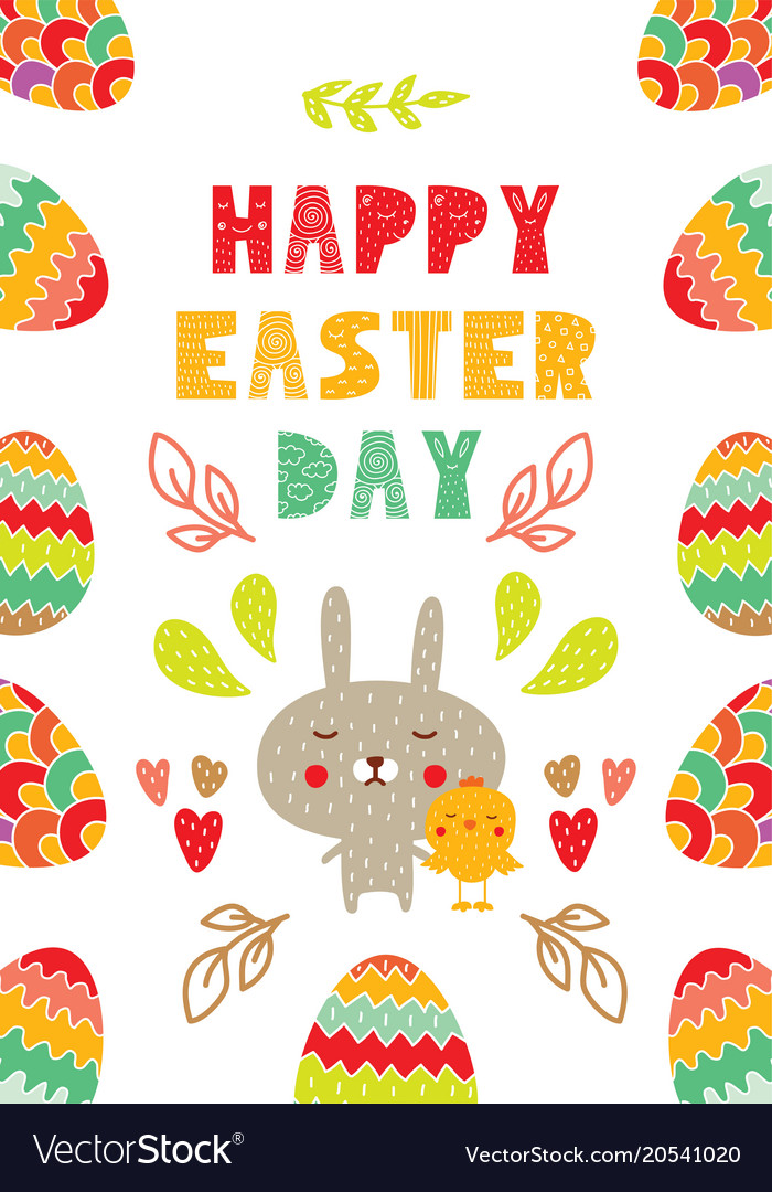 Easter Gift Card In Flat Design Royalty Free Vector Image