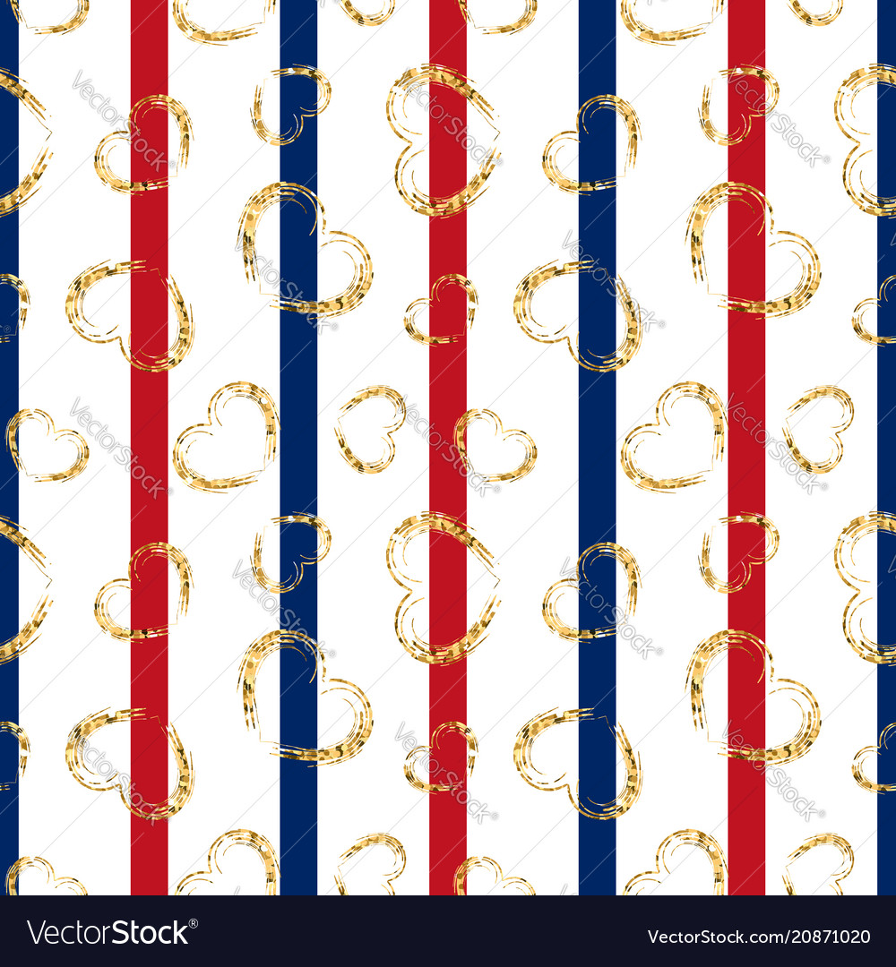 Gold heart seamless pattern red-blue-white