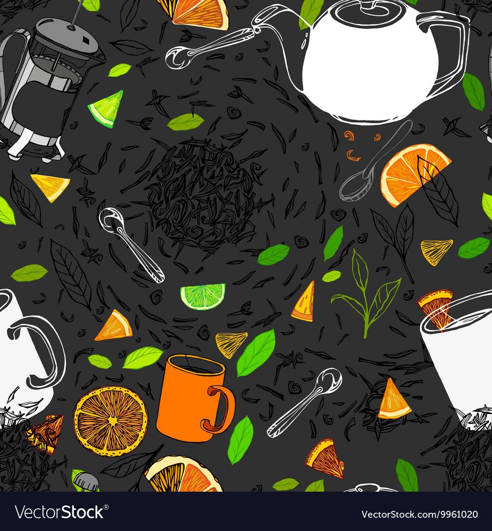 Hand drawn seamless tea pattern vector image
