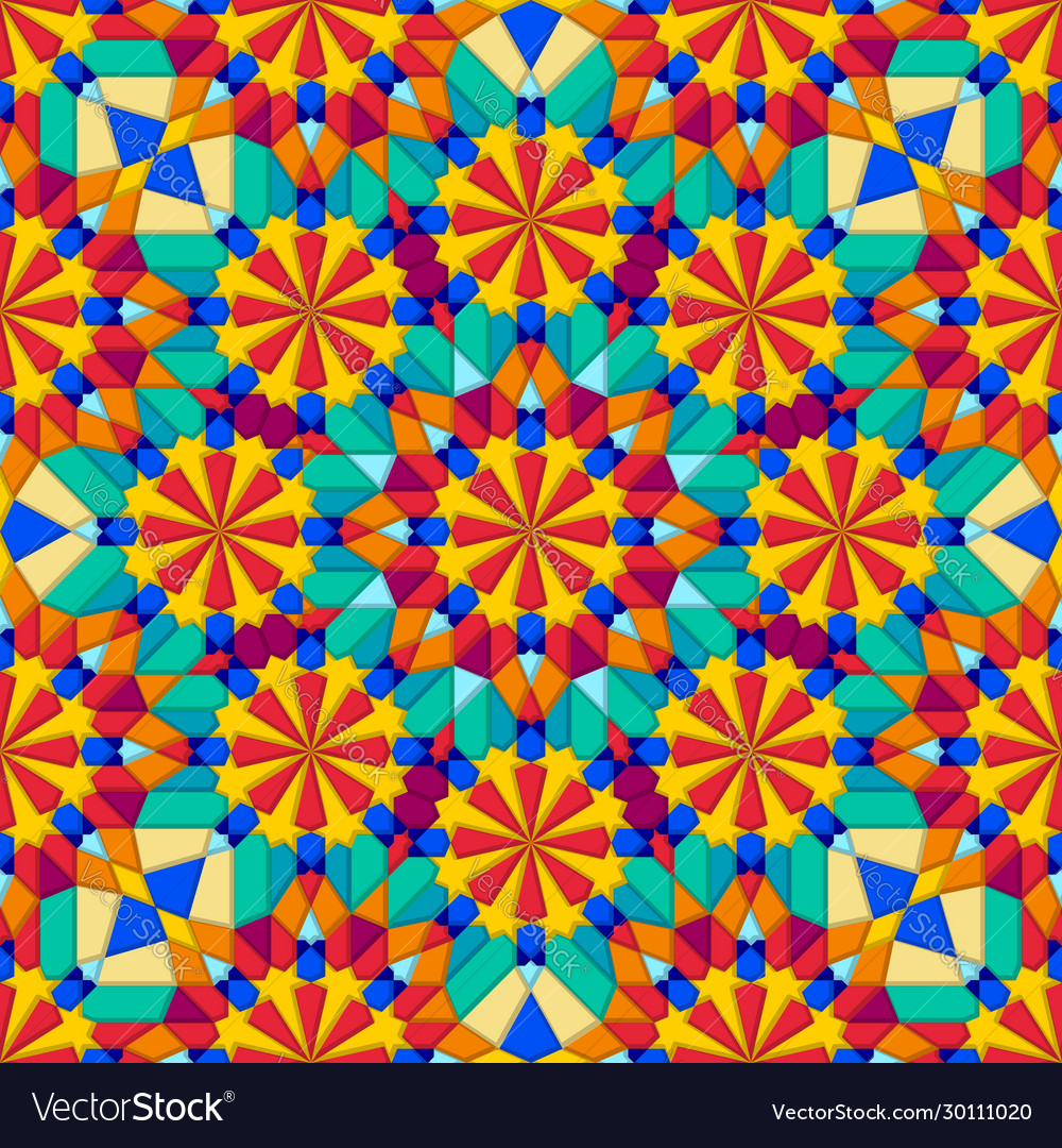 Kaleidoscope multicolor geometric seamless pattern