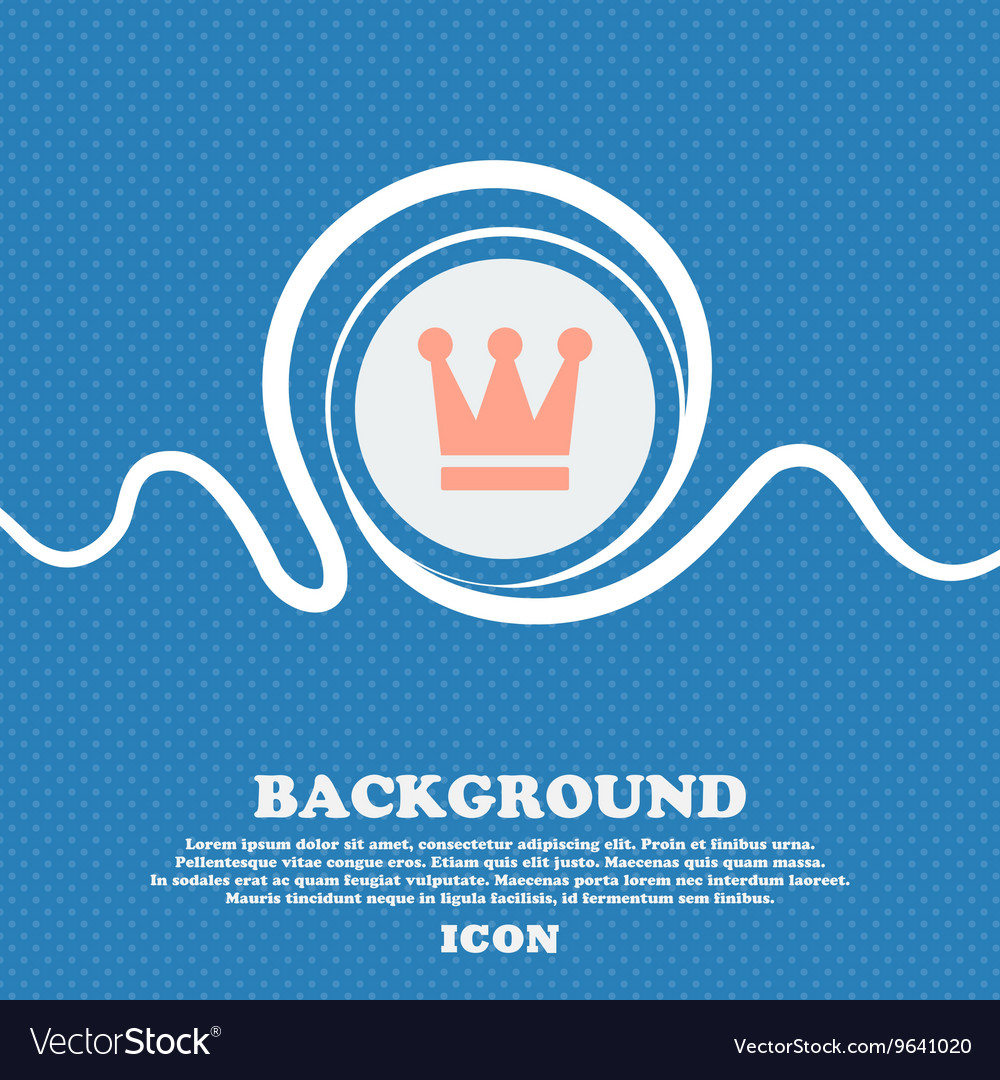 King Crown sign icon Blue and white abstract vector image