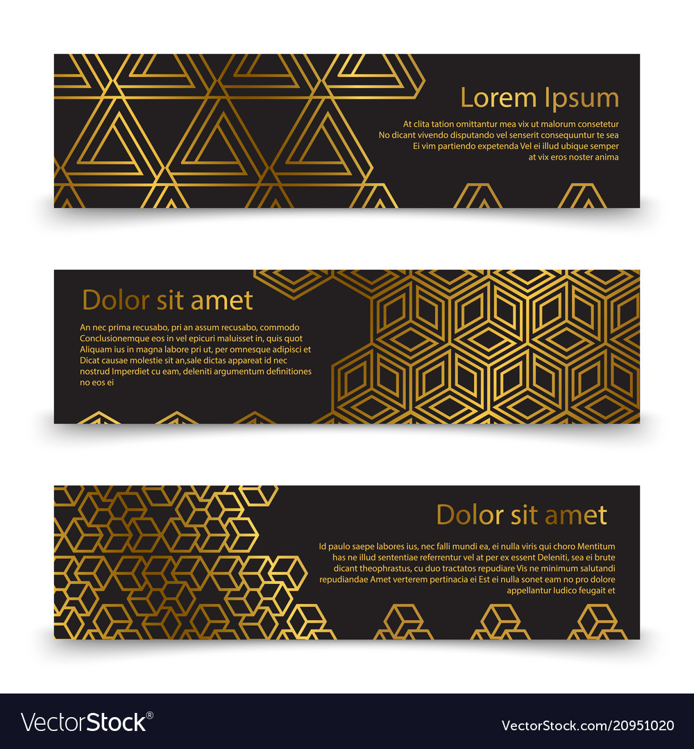 Luxury horizontal banners template with golden